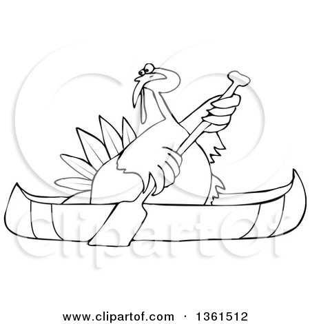 Clipart of a Cartoon Black and White Thanksgiving Turkey Bird Canoeing - Royalty Free Vector Illustration by djart