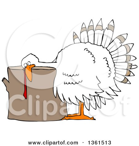Clipart of a Cartoon White Thanksgiving Turkey Bird Laying His Head on a Chopping Block - Royalty Free Vector Illustration by djart