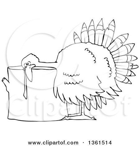 Clipart of a Cartoon Black and White Thanksgiving Turkey Bird Laying His Head on a Chopping Block - Royalty Free Vector Illustration by djart