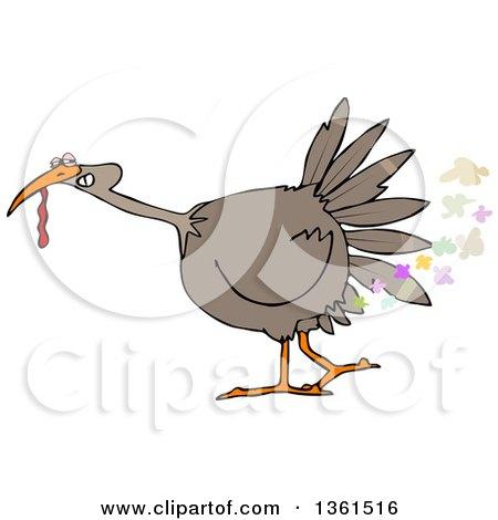 Clipart of a Cartoon Brown Thanksgiving Turkey Bird Farting - Royalty Free Vector Illustration by djart