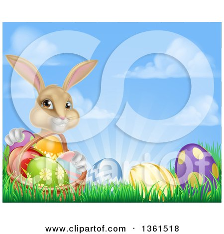 Clipart of a Cute Beige Bunny Rabbit with a Basket and Easter Eggs in Grass Against a Blue Sky with Puffy Clouds and Sun Rays - Royalty Free Vector Illustration by AtStockIllustration