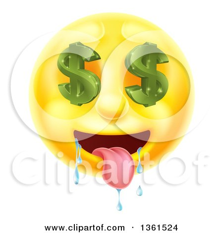 Clipart of a 3d Drooling Yellow Male Smiley Emoji Emoticon Face with Dollar Symbol Eyes - Royalty Free Vector Illustration by AtStockIllustration