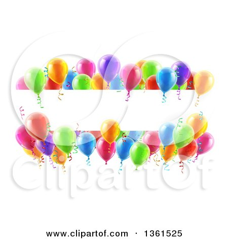 Clipart of a Blank White Banner Signs Bordered in 3d Colorful Party Balloons and Confetti - Royalty Free Vector Illustration by AtStockIllustration