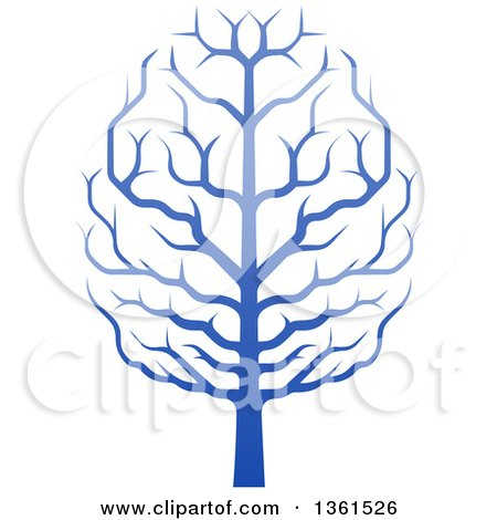 Clipart of a Gradient Blue Brain Canopied Tree - Royalty Free Vector Illustration by AtStockIllustration