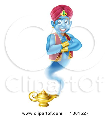 Cartoon Blue Strong Blue Aladdin Genie Floating Over A Lamp With His Arms  Folded By AtStockIllustration