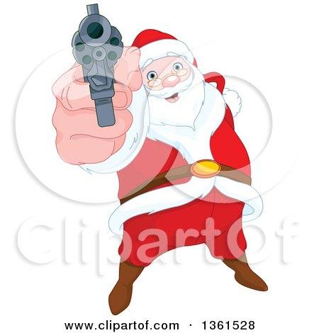 Clipart of a Christmas Santa Claus Pointing a Gun - Royalty Free Vector Illustration by Pushkin