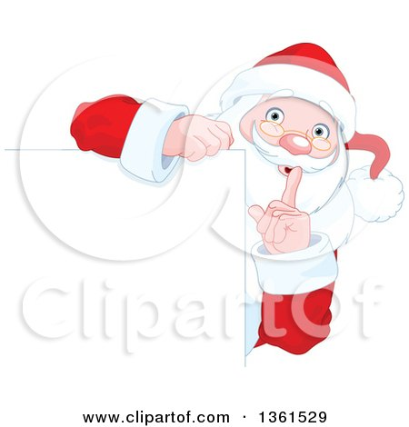 Clipart of a Christmas Santa Claus Gesturing to Be Quite Around a Blank Sign - Royalty Free Vector Illustration by Pushkin
