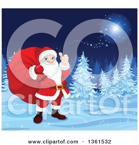 Clipart of a Christmas Santa Claus Carrying a Sack and Giving a Thumb up in a Magical Winter Background - Royalty Free Vector Illustration by Pushkin