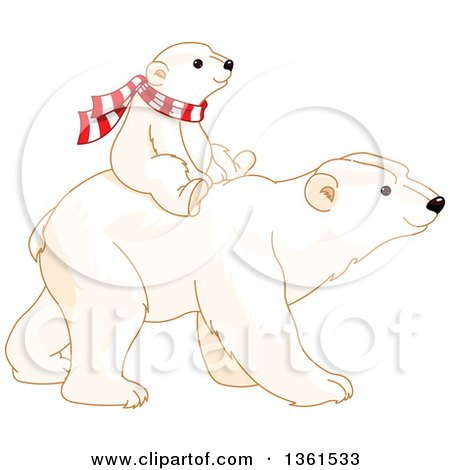 Clipart of a Cute Baby Polar Bear Cub Riding on the Back of an Adult - Royalty Free Vector Illustration by Pushkin