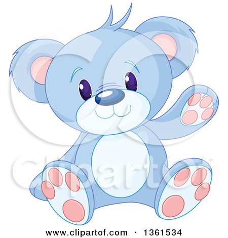 Clipart of a Cute Blue Teddy Bear Sitting and Waving - Royalty Free Vector Illustration by Pushkin