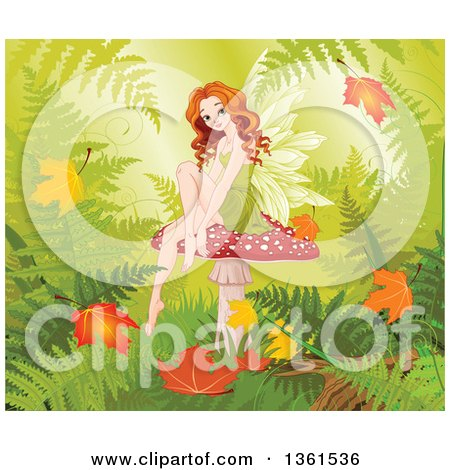 Clipart of a Beautiful Red Haired White Female Fairy Sitting on a Fly Agaric Mushroom, with Autumn Leaves and Ferns - Royalty Free Vector Illustration by Pushkin