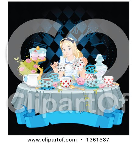 Clipart of Alice Pouring Tea at a Table with Cupcakes and Flowers, over a Blank Blue Banner and Clock - Royalty Free Vector Illustration by Pushkin