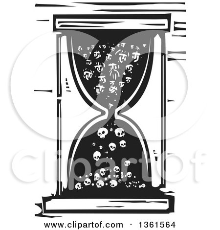 Clipart of a Black and White Woodcut Hourglass with People Turning into Bones - Royalty Free Vector Illustration by xunantunich
