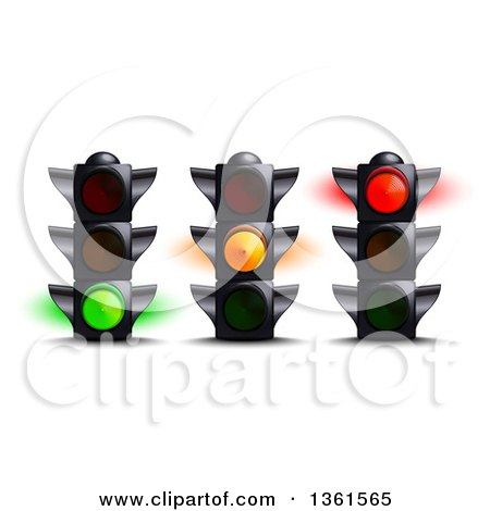 Clipart of 3d Green, Yellow and Red Traffic Lights - Royalty Free Vector Illustration by Oligo