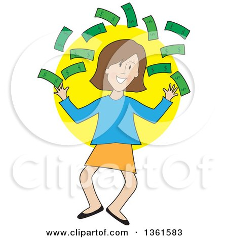 Clipart of a Cartoon Happy Caucasian Woman Jumping and Throwing Cash Money - Royalty Free Vector Illustration by Maria Bell