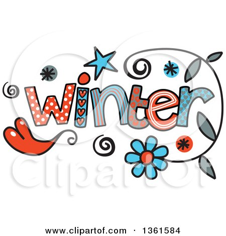 Clipart of Colorful Sketched Winter Season Word Art - Royalty Free Vector Illustration by Prawny