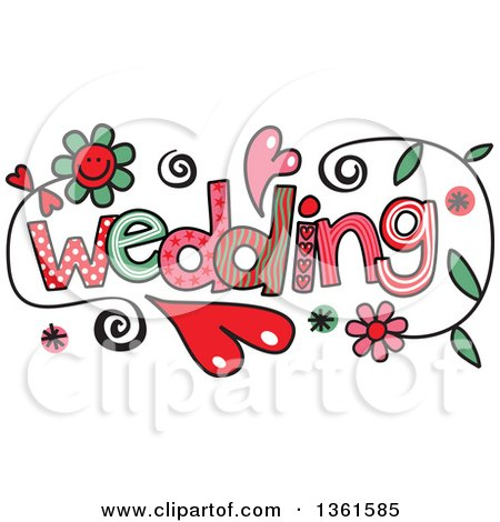 Clipart of Colorful Sketched Wedding Word Art - Royalty Free Vector Illustration by Prawny