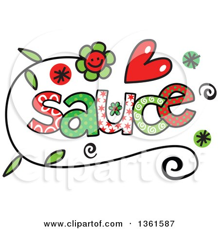 Clipart of Colorful Sketched Sauce Word Art - Royalty Free Vector Illustration by Prawny