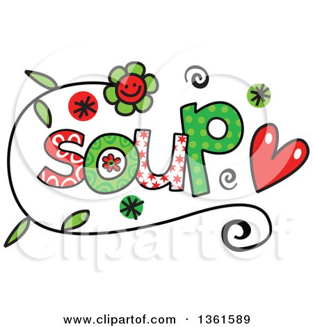 Clipart of Colorful Sketched Soup Word Art - Royalty Free Vector Illustration by Prawny