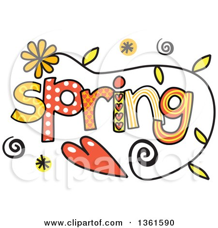 Clipart of Colorful Sketched Spring Season Word Art - Royalty Free Vector Illustration by Prawny