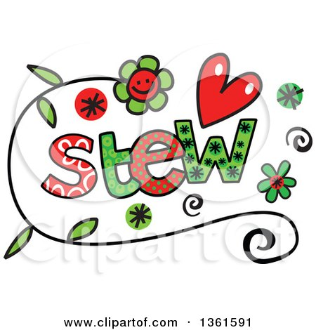 Clipart of Colorful Sketched Stew Word Art - Royalty Free Vector Illustration by Prawny