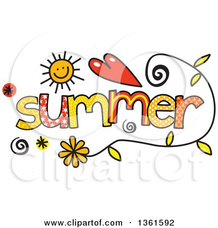Clipart Of Colorful Sketched Summer Season Word Art Royalty Free Vector Illustration