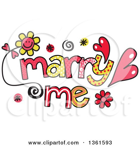 Clipart of Colorful Sketched Marry Me Word Art - Royalty Free Vector Illustration by Prawny