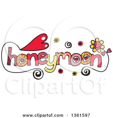 Clipart of Colorful Sketched Honeymoon Word Art - Royalty Free Vector Illustration by Prawny