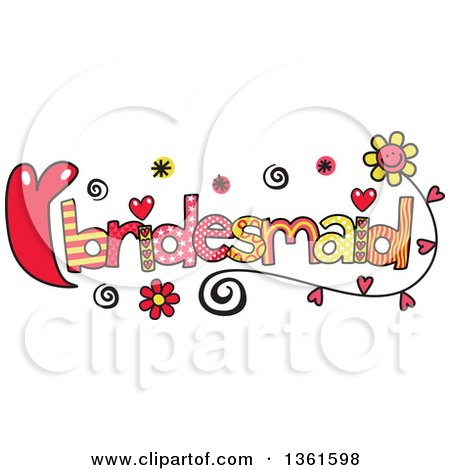 Clipart of Colorful Sketched Bridesmaid Word Art - Royalty Free Vector Illustration by Prawny