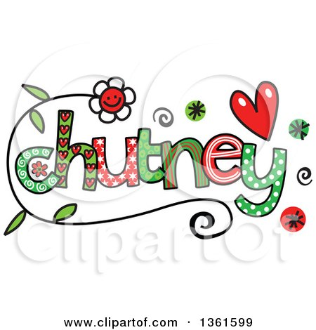 Clipart of Colorful Sketched Chutney Word Art - Royalty Free Vector Illustration by Prawny