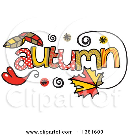 Clipart of Colorful Sketched Autumn Season Word Art - Royalty Free Vector Illustration by Prawny