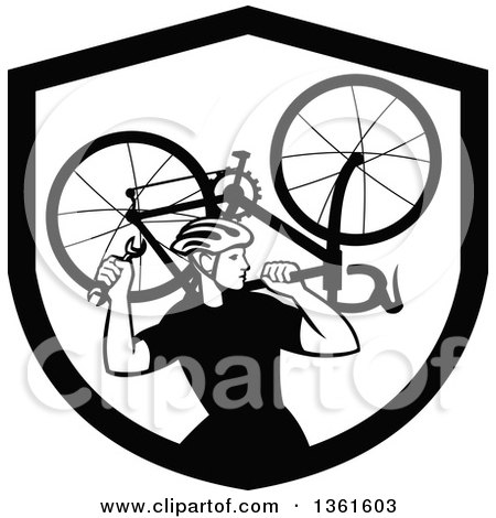 Clipart of a Black and White Retro Male Cyclist Carrying a Bicycle on His Back Inside a Shield - Royalty Free Vector Illustration by patrimonio