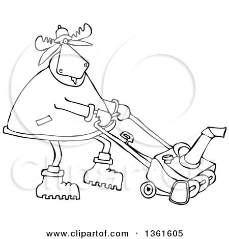 Clipart of a Cartoon Black and White Moose Using a Snow Blower - Royalty Free Vector Illustration by djart