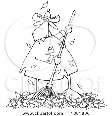 Clipart of a Cartoon Black and White Moose Raking Autumn Leaves - Royalty Free Vector Illustration by djart