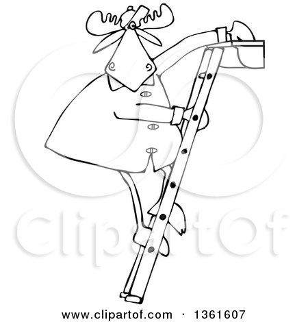 Clipart of a Cartoon Black and White Moose Standing on a Ladder and Cleaning Gutters - Royalty Free Vector Illustration by djart