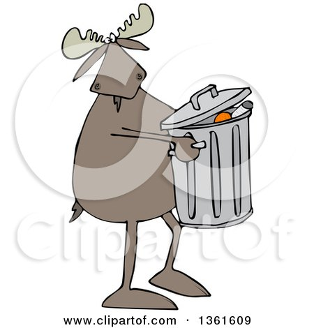 Clipart of a Cartoon Moose Taking out the Garbage - Royalty Free Vector Illustration by djart