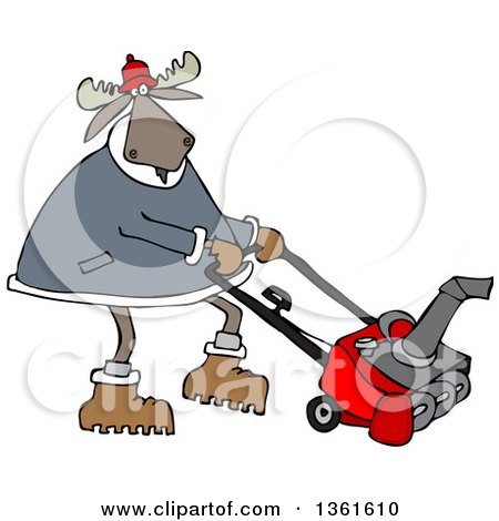 Clipart of a Cartoon Moose Using a Snow Blower - Royalty Free Vector Illustration by djart