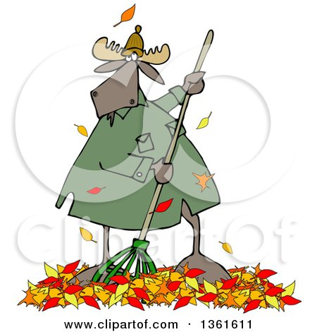 Clipart of a Cartoon Moose Raking Autumn Leaves - Royalty Free Vector Illustration by djart