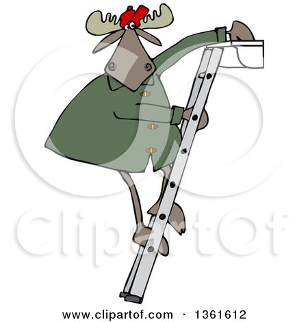 Clipart of a Cartoon Moose Standing on a Ladder and Cleaning Gutters - Royalty Free Vector Illustration by djart