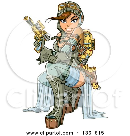 Clipart of a Sexy Brunette Steampunk Aviatior Crouching with a Ray Gun - Royalty Free Vector Illustration by Clip Art Mascots