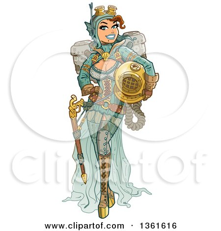 Clipart of a Sexy Steampunk Deep Sea Diver Woman Holding a Helmet - Royalty Free Vector Illustration by Clip Art Mascots
