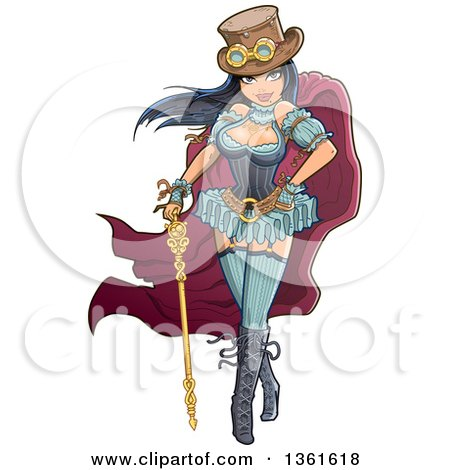 Clipart of a Sexy Victorian Steampunk Woman Wearing a Top Hat with Goggles, a Clock and Standing with a Staff - Royalty Free Vector Illustration by Clip Art Mascots