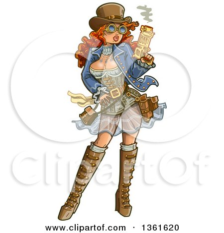 Clipart of a Sexy Red Haired Steampunk Gunslinger Woman Holding a Smoking Gun - Royalty Free Vector Illustration by Clip Art Mascots