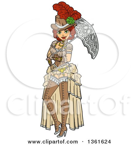Clipart of a Sexy Red Haired Steampunk Society Woman Posing with a Parasol - Royalty Free Vector Illustration by Clip Art Mascots