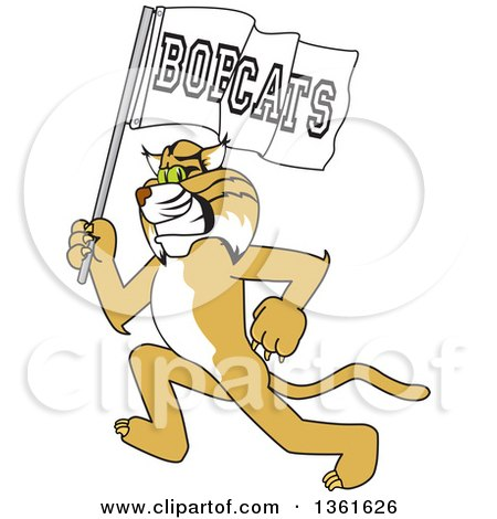 Clipart of a Bobcat School Mascot Character Running with a Team Flag, Symbolizing Pride - Royalty Free Vector Illustration by Toons4Biz
