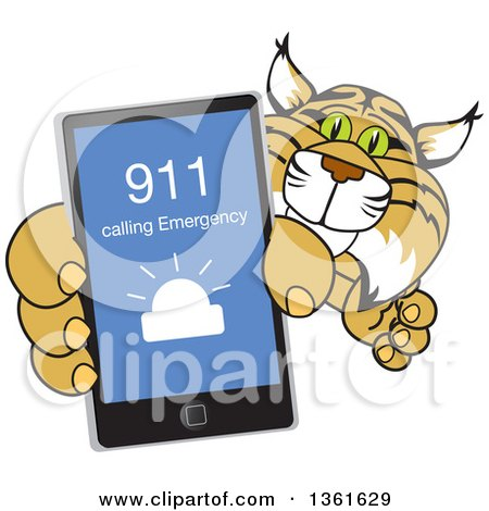 Clipart of a Bobcat School Mascot Character Holding up a Smart Phone with an Emergency Screen, Symbolizing Safety - Royalty Free Vector Illustration by Toons4Biz