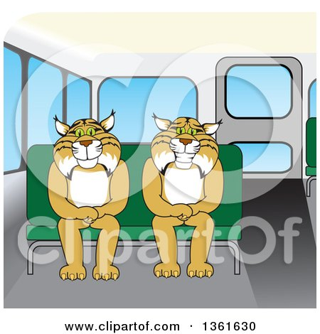 Clipart of Bobcat School Mascot Characters Sitting on a Bus Seat, Symbolizing Safety - Royalty Free Vector Illustration by Toons4Biz