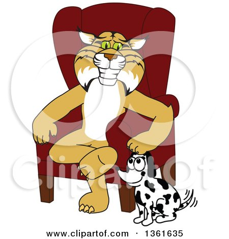 Clipart of a Bobcat School Mascot Character Sitting by a Dog, Symbolizing Responsibility - Royalty Free Vector Illustration by Toons4Biz