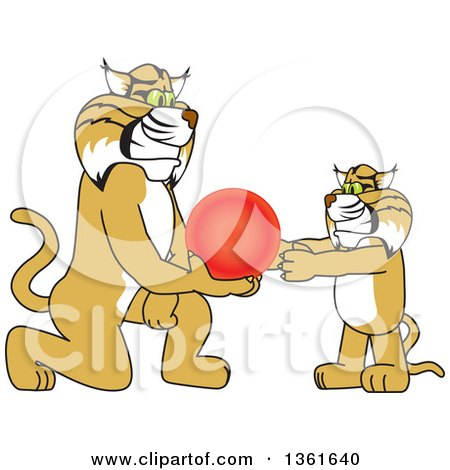Clipart of a Bobcat School Mascot Character Giving a Ball to a Cub, Symbolizing Compassion - Royalty Free Vector Illustration by Toons4Biz