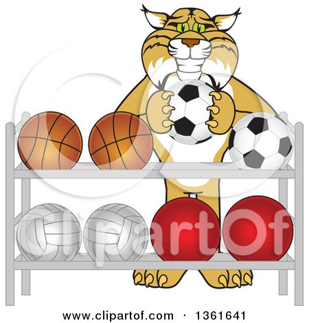 Clipart of a Bobcat School Mascot Character Putting a Soccer Ball Back on a Rack, Symbolizing Respect - Royalty Free Vector Illustration by Toons4Biz